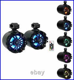 2 WB65KLED 6.5 600w Black Marine Wakeboard LED Tower Black with LED