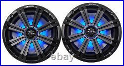 (2) kicker KM8 8 LED 360° Swivel Black Aluminum Wakeboard Tower Speakers