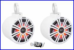 (2) kicker KM8 8 LED 360° Swivel White Aluminum Wakeboard Tower Speakers