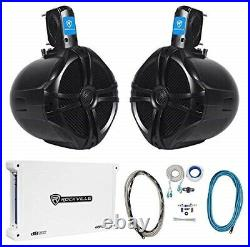 (2) rockville rwb80b 8 black 600w marine wakeboard tower speakers+amplifier+ki