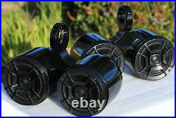 2 x Twin Black Coated Wakeboard Tower Speaker Polk DB652 300W Marine Speaker