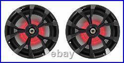 (3) Rockville RKL80MB 8 Marine Dual Wakeboard Tower LED Speakers+Amp+Receiver