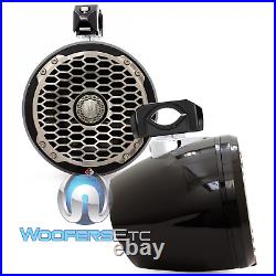 3pkg ROCKFORD FOSGATE PM2652W-MB MARINE WAKE-BOARD TOWER SPEAKERS + CLAMPS+ WIRE