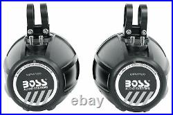 (4) Boss MPWT60 6.5 600w UTV ATV Marine Wakeboard Tower Speakers+Hifonics Amp