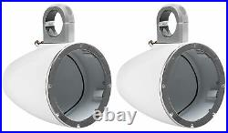 (4) KICKER 43KM654LCW 6.5 780 Watt Marine Wakeboard Tower Speakers withLED Lights