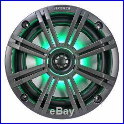 (4) KICKER 45KM654L 6.5 390w Black Marine Wakeboard Tower LED Boat Speakers