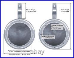 (4) KICKER 45KM654L 6.5 390w Silver Marine Wakeboard Tower LED Boat Speakers