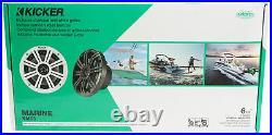 (4) KICKER 45KM654 6.5 390 Watt Silver Marine Wakeboard Tower Boat Speakers