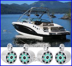 4 KICKER 45KM84L 8 1200 Watt Marine Boat Wakeboard Tower Speakers withLED's KM8