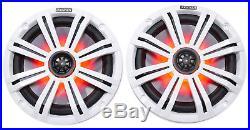 (4) KICKER 45KM84L 8 1200 Watt Marine Boat Wakeboard Tower Speakers withLED's KM8