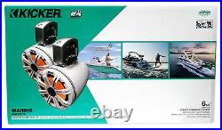 (4) KICKER 45KMTC65W 6.5 780 Watt Marine Boat Wakeboard Tower Speakers withLED's