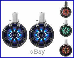 (4) KICKER 45KMTC65 6.5 780 Watt Marine Boat Wakeboard Tower Speakers withLED's