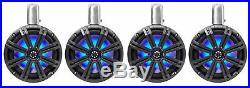 (4) KICKER 45KMTC8 8 1200 Watt Marine Wakeboard Tower Speakers withLED's KMTC8