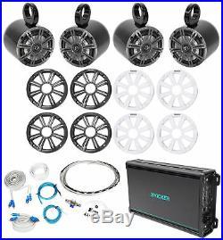 (4) KICKER KM65 6.5 390w Black Marine Wakeboard Tower Speakers+Amplifier+Wires