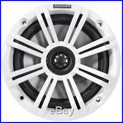 (4) KICKER KM65 6.5 390w Silver Marine Wakeboard Tower Speakers+Amplifier+Wires