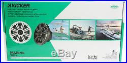 (4) KICKER KM65 6.5 390w White Marine Wakeboard Tower Speakers+Amplifier+Wires