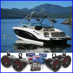 (4) MTX 6.5 Marine Wakeboard Tower Speakers+LED's+2-Channel Amplifier+Wiring