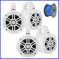 4 Marine Wakeboard Tower Speakers White 2 Pairs, Tinned Speaker Wire