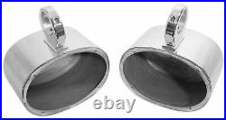 (4) Rockville MAC69S 6x9 Silver Aluminum Wakeboard Tower Speaker Pods+Covers