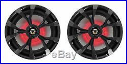 (4) Rockville RKL80MB 8 900 Watt Marine Black Wakeboard LED Tower Speakers