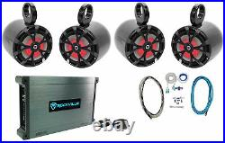 (4) Rockville RKL80MB 8 Marine Boat Wakeboard Tower Speakers withLED's+Amplifier