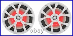 (4) Rockville RKL80MW 8 900 Watt Marine White Wakeboard LED Tower Speakers