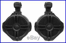 (4) Rockville RWB70B Black 6.5 Marine Wakeboard Swivel Tower Speakers+Receiver