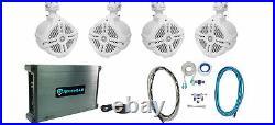 (4) Rockville RWB70W White 6.5 Marine Wakeboard Swivel Tower Speakers+Amplifier