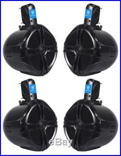 (4) Rockville RWB80B 8 Black 2 Way 300 Watt Marine Wakeboard Tower Speakers