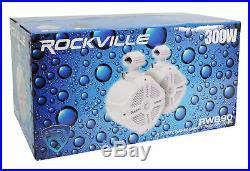 (4) Rockville RWB90B Black 8 Marine Wakeboard Swivel Tower Speakers+Receiver