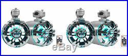 4 Rockville WB65KLED 6.5 600w LED Marine Metal Wakeboard Swivel Tower Speakers