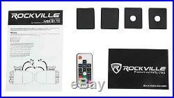 4 Rockville WB65KLED 6.5 LED Black Marine Wakeboard Swivel Tower Speakers+Radio