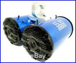 600 Watt Kenwood Blue Pearl Metallic Marine Wakeboard Tower Speakers SJS Dezign