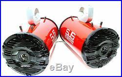600 Watt Kenwood Metallic Red Marine Boat Wakeboard Tower Speakers SJS Dezign