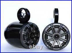 6.5in Black Coated Aluminum Wakeboard Speaker Pods Enclosures in Pair