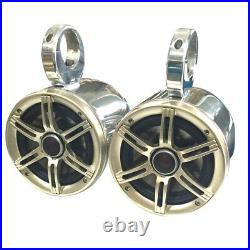 6.5in Polished Aluminum Wakeboard Speaker Pods Enclosures in Pair