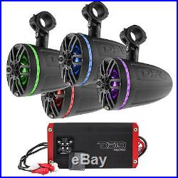 6 Wakeboard Tower Speakers with RGB LED 2 Pairs (Black), 1600 Watts Amplifier