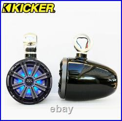 Black Angle Free Wakeboard Speaker Kicker KM654LCW LED 6.5 Marine Speaker