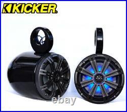 Black Coated Wakeboard Speaker Kicker KM654LCW LED 6.5 Marine Speaker Installed