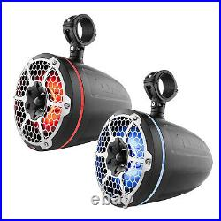 DS18 10 900W Marine Wakeboard Tower Speakers 2 Pairs (Black), 4 Ch Amplifier
