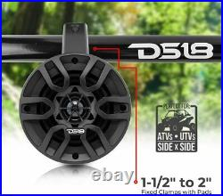 DS18 4 Bluetooth Amplified Marine Wakeboard Wake Tower ATV Golf Speakers Black