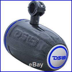 DS18 CF8TPB 8 Marine Wakeboard Tower Speakers & NXL200.2D Speaker Amplifier