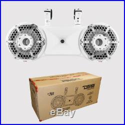 DS18 Dual 10 White 1800W Wakeboard Tower Marine Speaker RGB 2 Way Pod