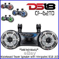 DS18 Hydro CF-62TD Dual 6.5 Wakeboard Tower 750W Speaker ATV UTV Boat + RGB LED