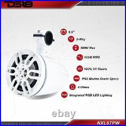 DS18 NXL-6TPW 6.5 Wake Board Tower Pod Speakers RGB LED UTV ATV Jeep Boat White
