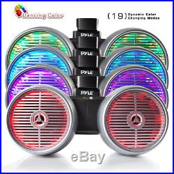 Hydra Dual Tower Speakers Marine Wakeboard Sound LED Lights 8 inches Silver