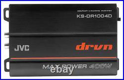 JVC KS-DR1004D 4-Channel Marine Amplifier+(4) Black 8 Wakeboard Tower Speakers