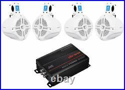 JVC KS-DR1004D 4-Channel Marine Amplifier+4 white 6.5 Wakeboard Tower Speakers