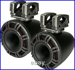 KICKER 44KMTC94 MARINE/BOAT 9 WAKEBOARD TOWER SPEAKERS WithLED LIGHT CHARCOAL