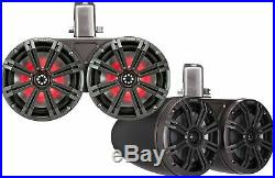 KICKER 45KMTDC65 MARINE/BOAT 6.5 WAKEBOARD TOWER SPEAKERS WithLED LIGHT CHARCOAL